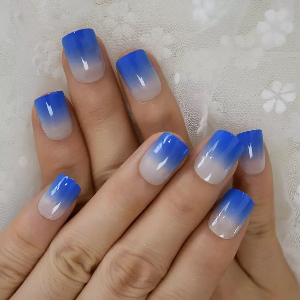 Diamond Blue French Nail Ombre Short Press On Nails Shiny Quality Square D ... -  Diamond Blue French Nail Ombre Short Press On Nails Shiny Quality Square Ladies Designed Faux Ongle - #Blue #colurfulnails #cutenails #diamond #fadedfrenchnails #french #frenchnailsombre #glitternails #metallicnails #Nail #nails #nailsshining #ombre #press #quality #Shiny #short #square