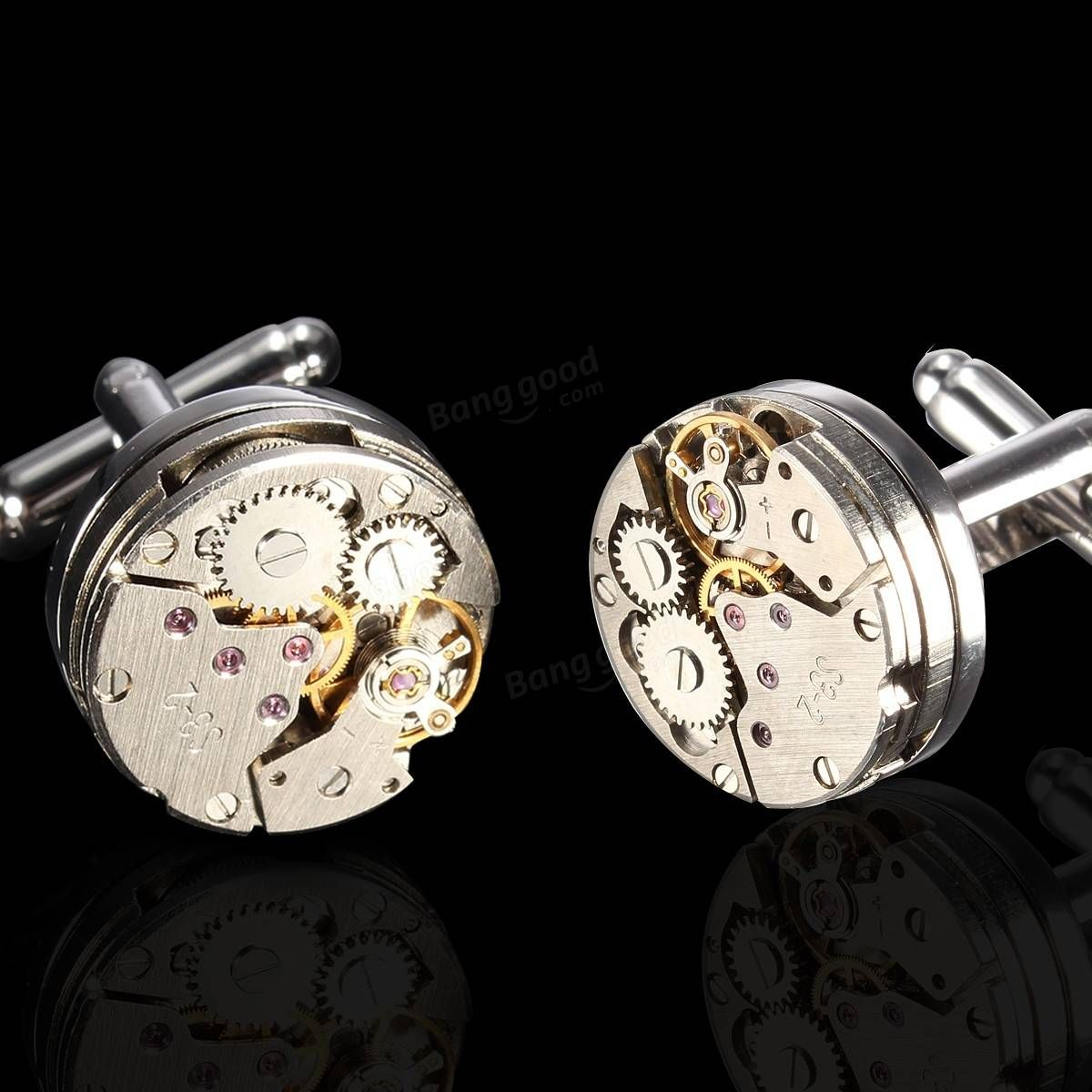 Men Male Silver Mechanical Watch Pattern Bare Cufflinks Wedding Gift