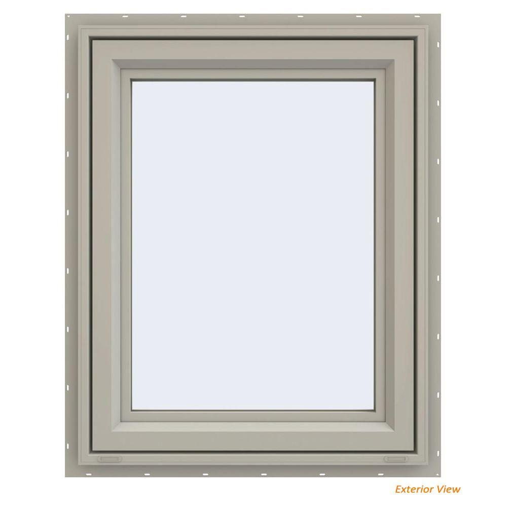 Jeld Wen 24 In X 36 In V 4500 Series Black Finishield Vinyl Left Handed Casement Window With Fiberglass Mesh Screen Thdjw143200069 Casement Windows Mesh Screen Window Awnings