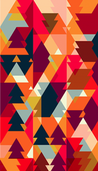 SUZANNE CLEO ANTONELLI bright geometric shapes trees arrowheads native  american inspired