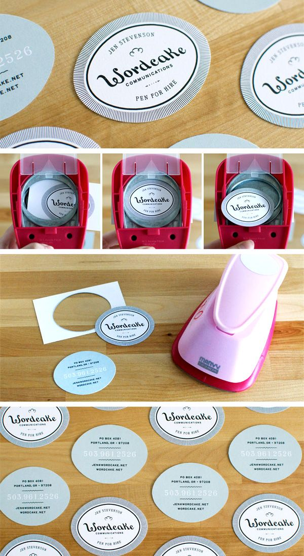 6 super easy ways to create handmade diy business cards business the top 15 diy business cards design ideas using an oval crafting punch wordcake was able to create handmade custom shaped business cards colourmoves