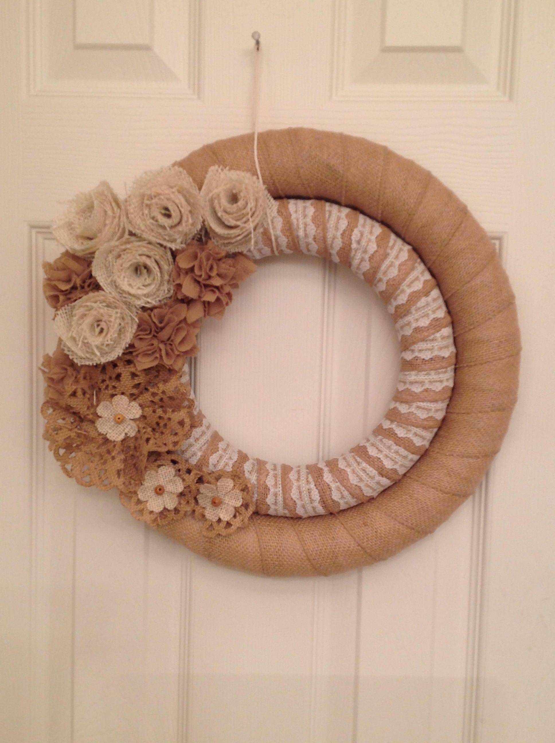 Photo of Burlap wreath, summer wreath, burlap lace wreath, double-wound burlap wreath, shabby country, felt rose, vintage look, peasant wreath
