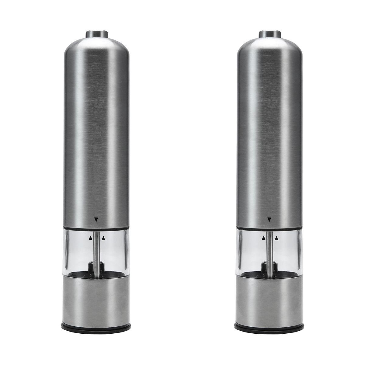 2 pack stainless steel electric salt pepper grinders