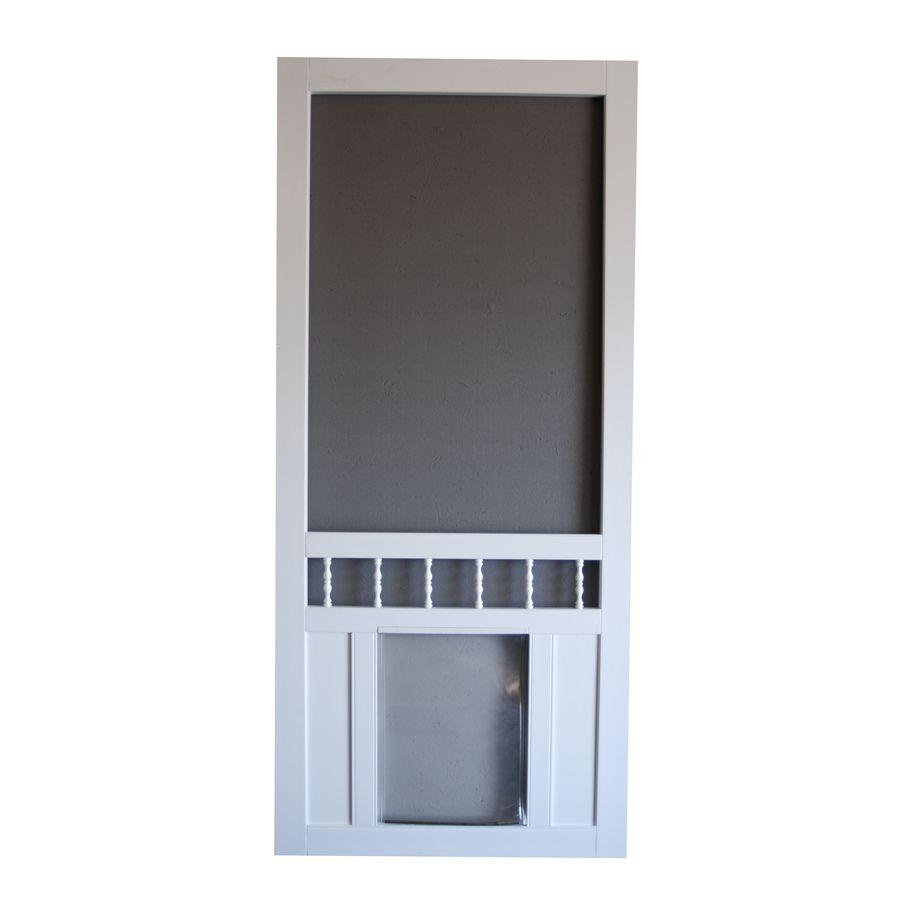 Screen Tight Southport 36 In White Vinyl Screen Door With Pet Door