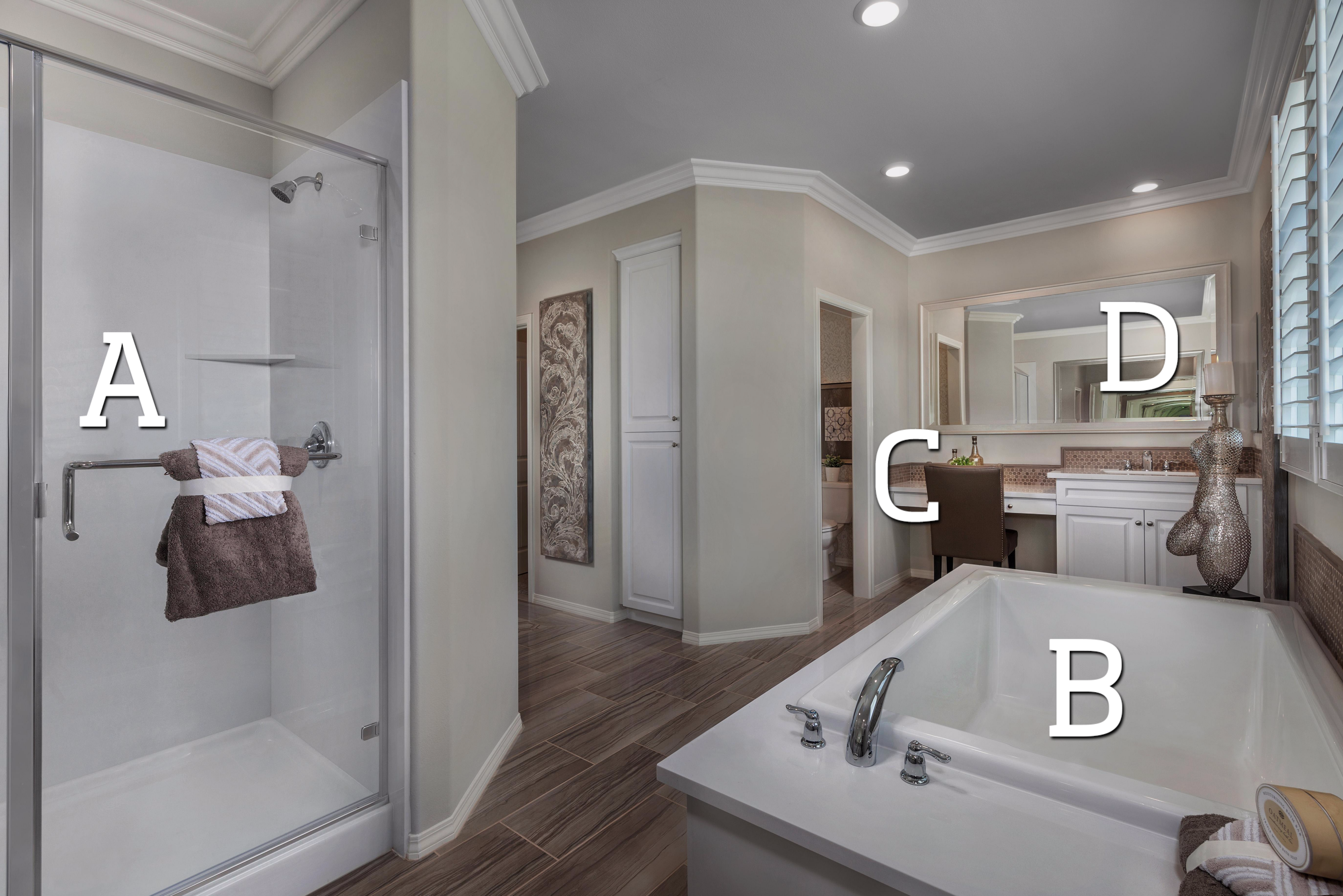 Attrayant What Is Your FAVORITE Feature In This Master Bathroom?! A. Glass Enclosed  Shower B. Luxurious Soaking Tub C. Vanity D. Wood Framed Mirrors Find Out  More ...