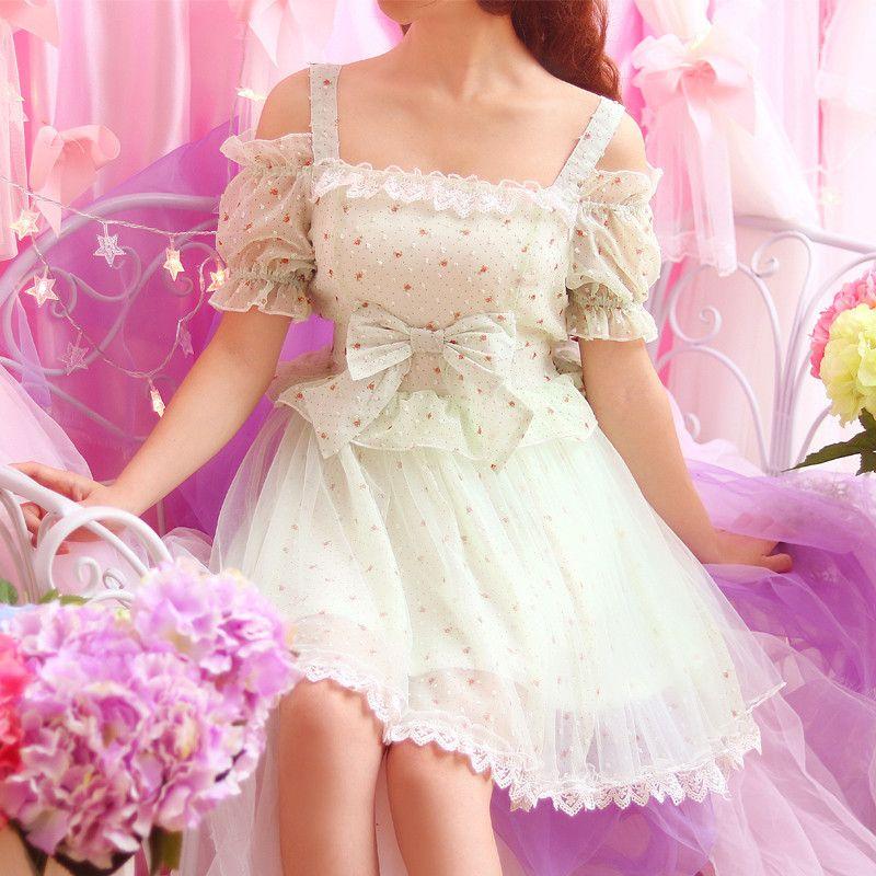 Japanese sweet floral condole belt bowknot princess dress   trajes ...