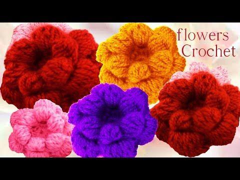 Como tejer flores esponjosas pom pom a Crochet o Ganchillo - YouTube ...