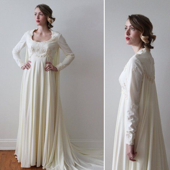 Vintage 1970s Long Sleeved Ivory Empire Waist Wedding Dress With Cape Train Old Fashioned Wedding Dresses Wedding Gowns Vintage Trendy Wedding Dresses