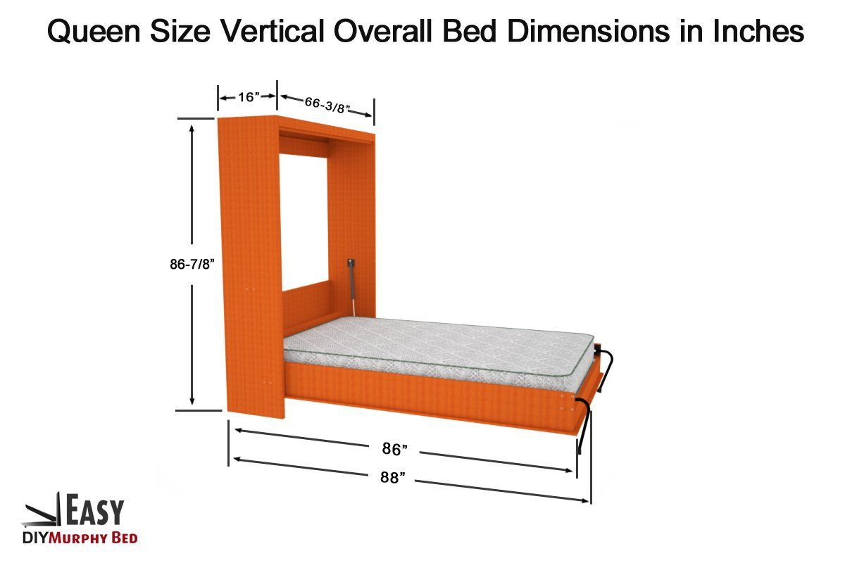 Queen Size Vertical Mount Easy Diy Murphy Wall Bed Hardware Kit A
