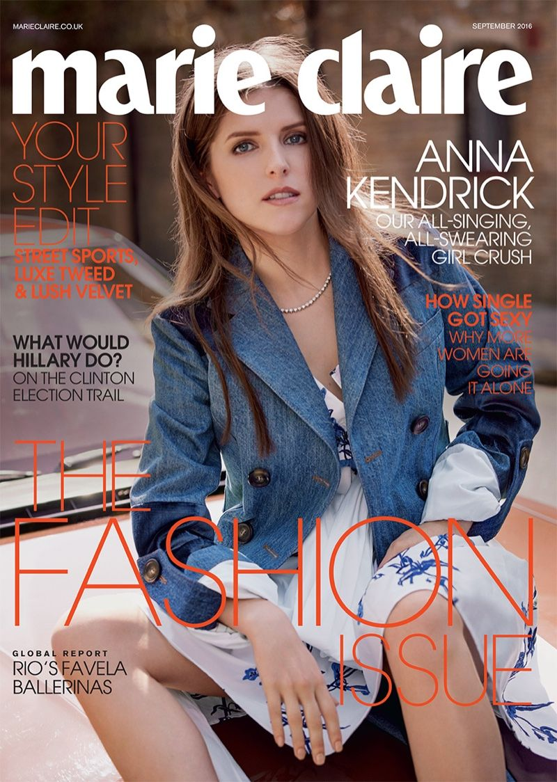 Anna Kendrick On Marie Claire UK Magazine September 2016 Cover