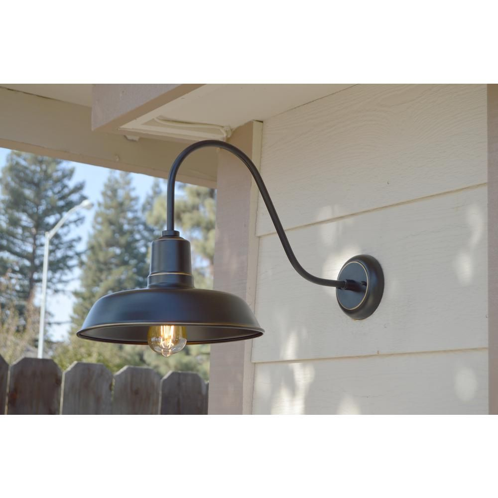 Logan 1 Light Imperial Black Outdoor Wall Mount Barn Light Sconce El930ib The Home Depot Exterior Wall Light Barn Lighting Wall Lights