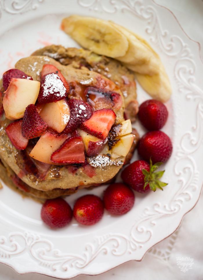 Strawberry Peach Walnut Oatmeal Pancakes. Gluten-Free ...