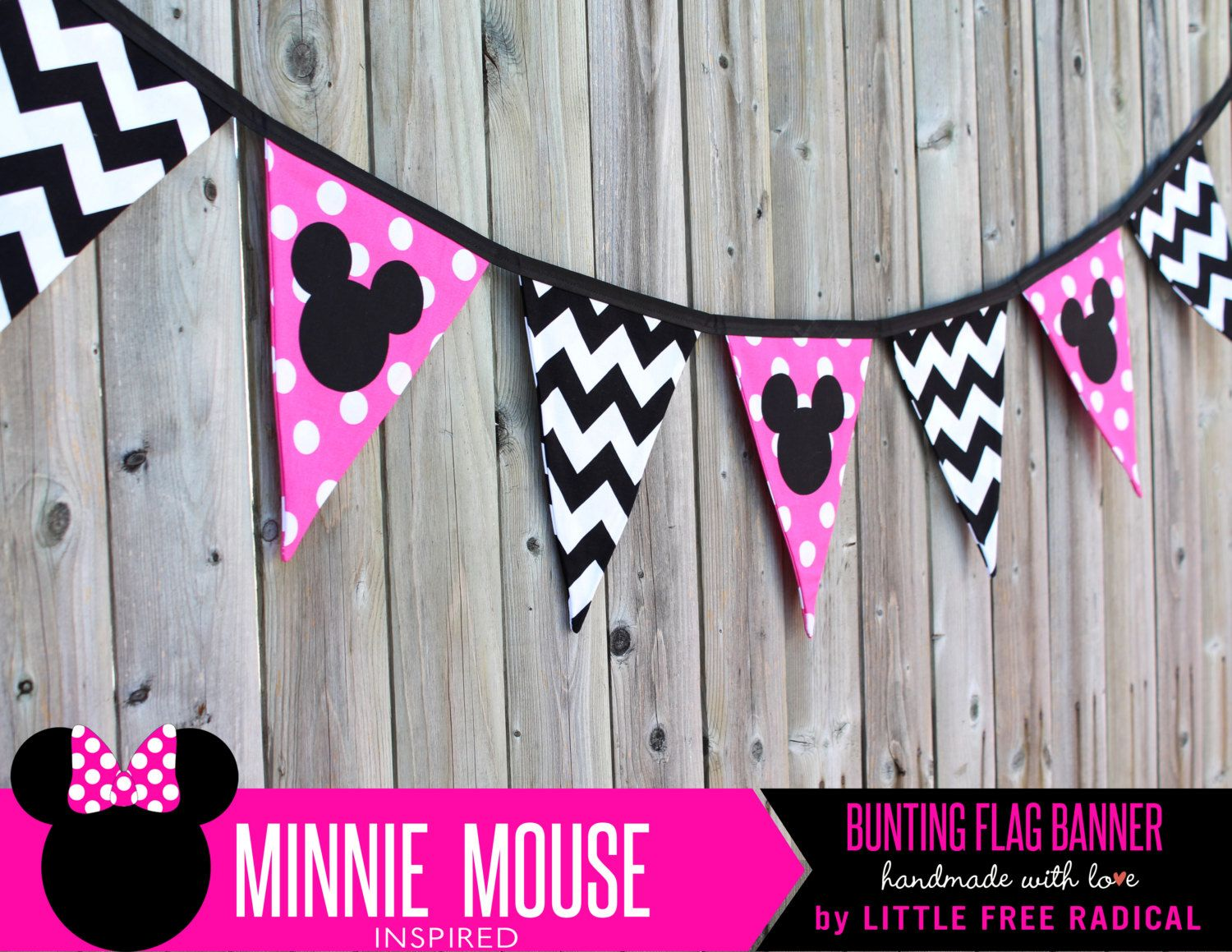Minnie Mouse Polka Dot & Chevron Fabric by LittleFreeRadical, $30.00