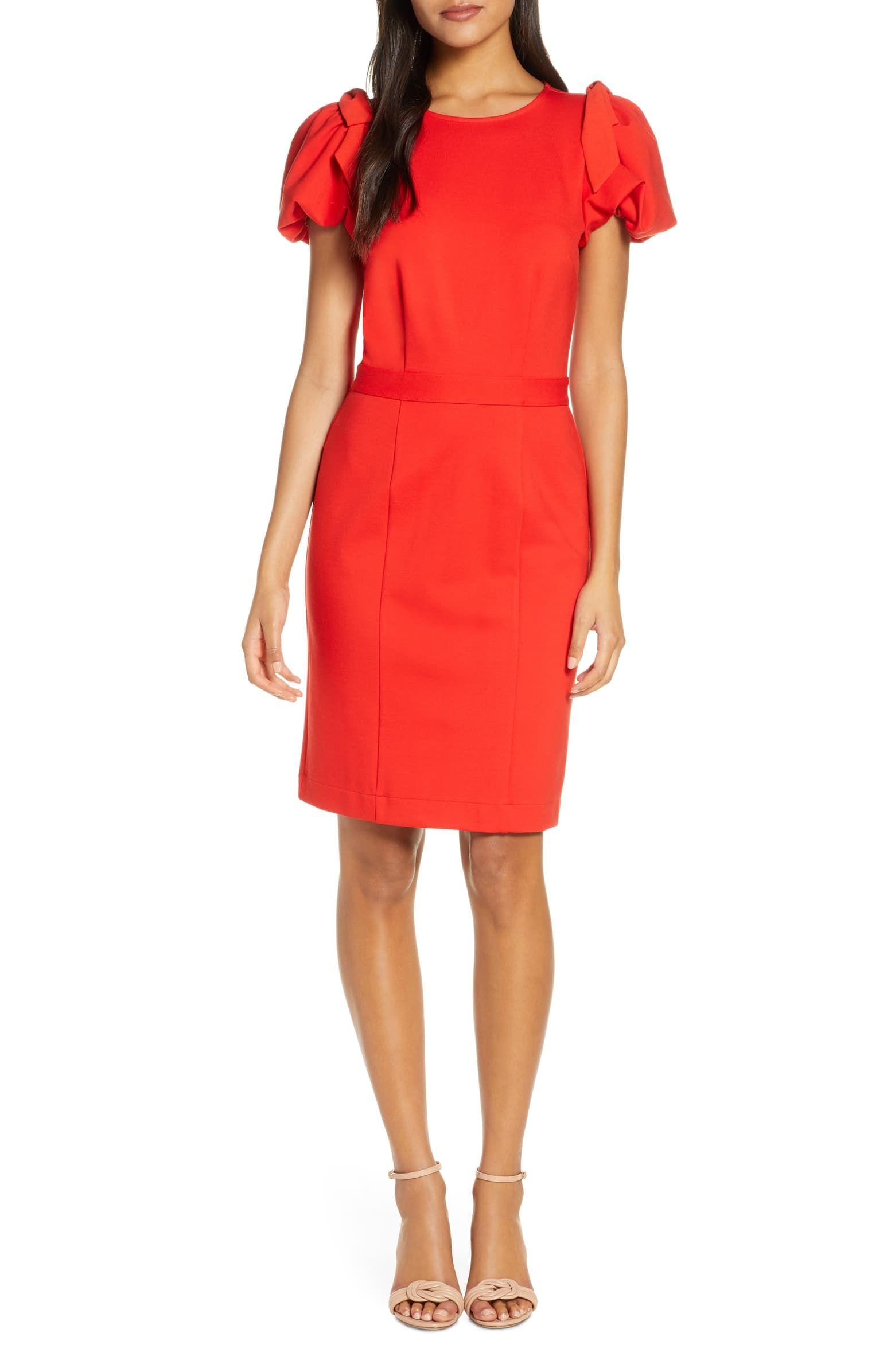 Rachel Parcell Bow Shoulder Detail Sheath Dress Nordstrom Exclusive Nordstrom Nordstrom Dresses Long Sleeve Wrap Midi Dress Valentines Day Dresses [ 2392 x 1560 Pixel ]