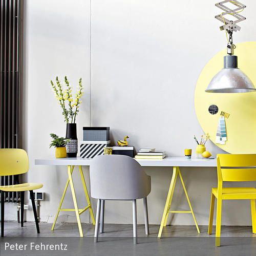 Gut Kombiniert: Einrichten In Gelb Und Grau
