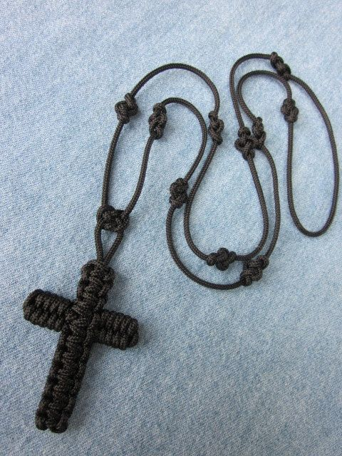 Handmade Rosary in Black Micro-Paracord available for purchase. $14.00, via Etsy.