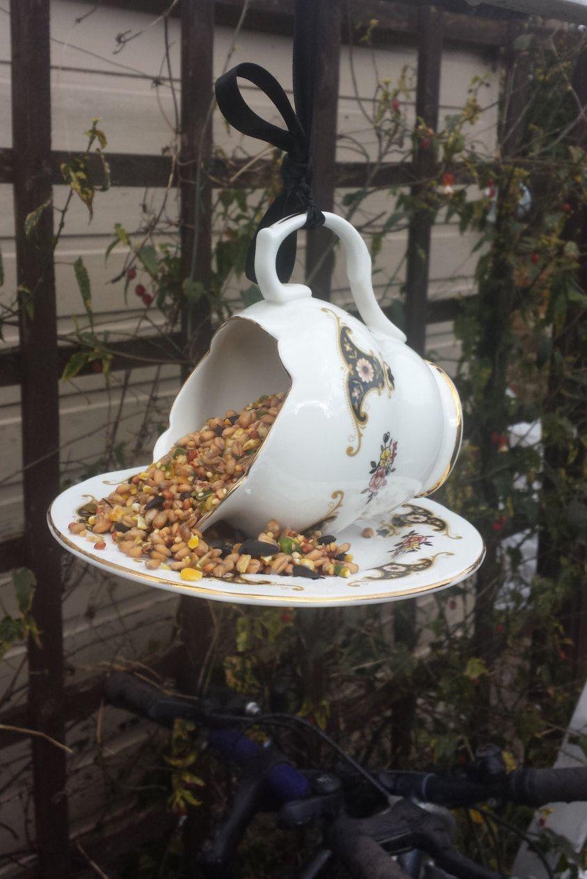 China bird feeder, jug bird feeder, gift for her, garden