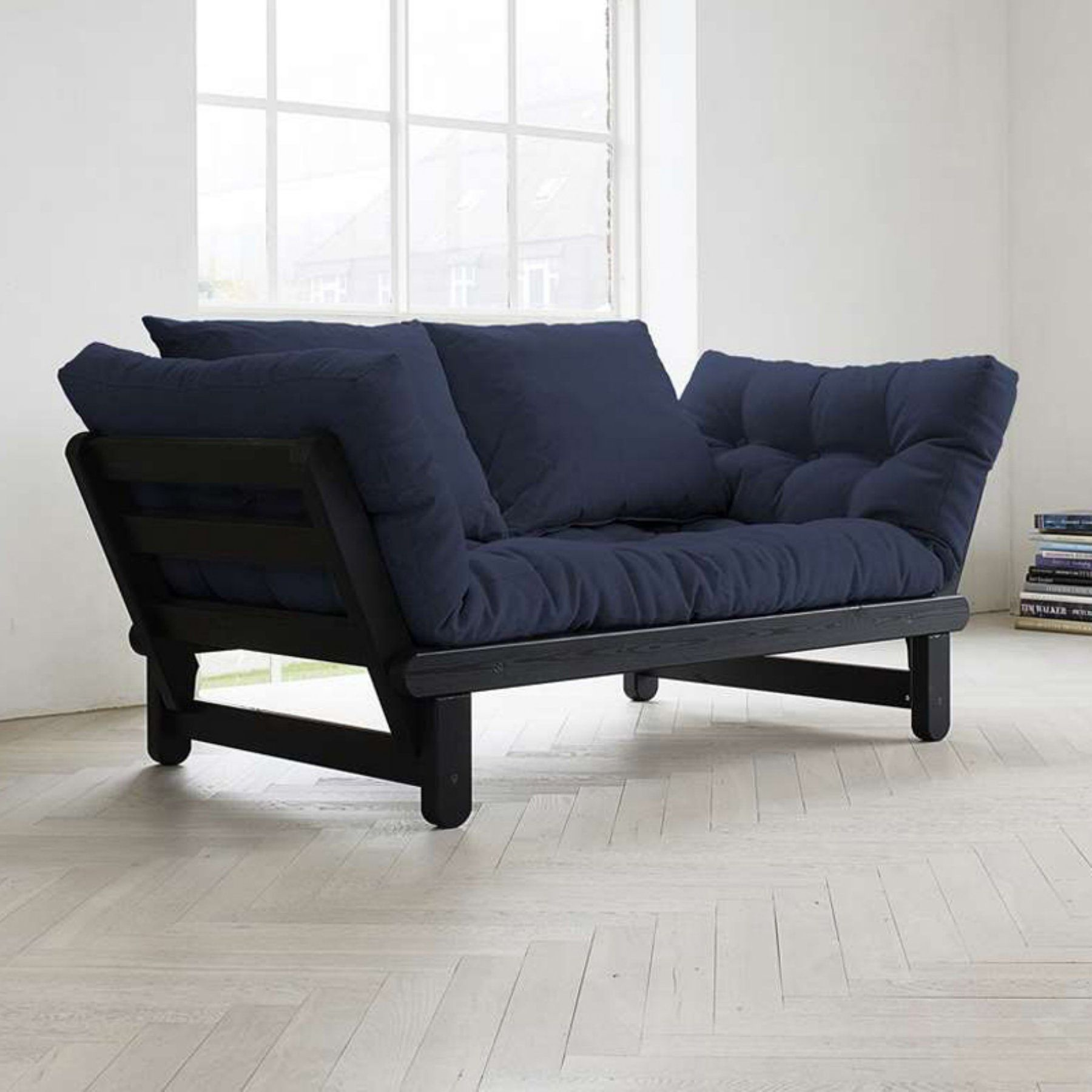 Fresh Futon Beat Black Convertible Sofa Beatbl001