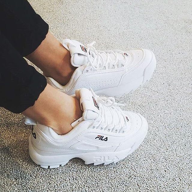 fila platform sneakers white