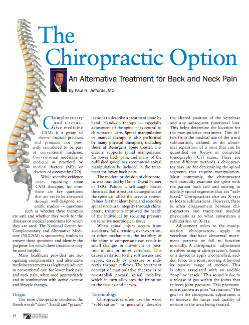 The Chiropractic Option: An Alternative Treatment for Back and Neck Pain