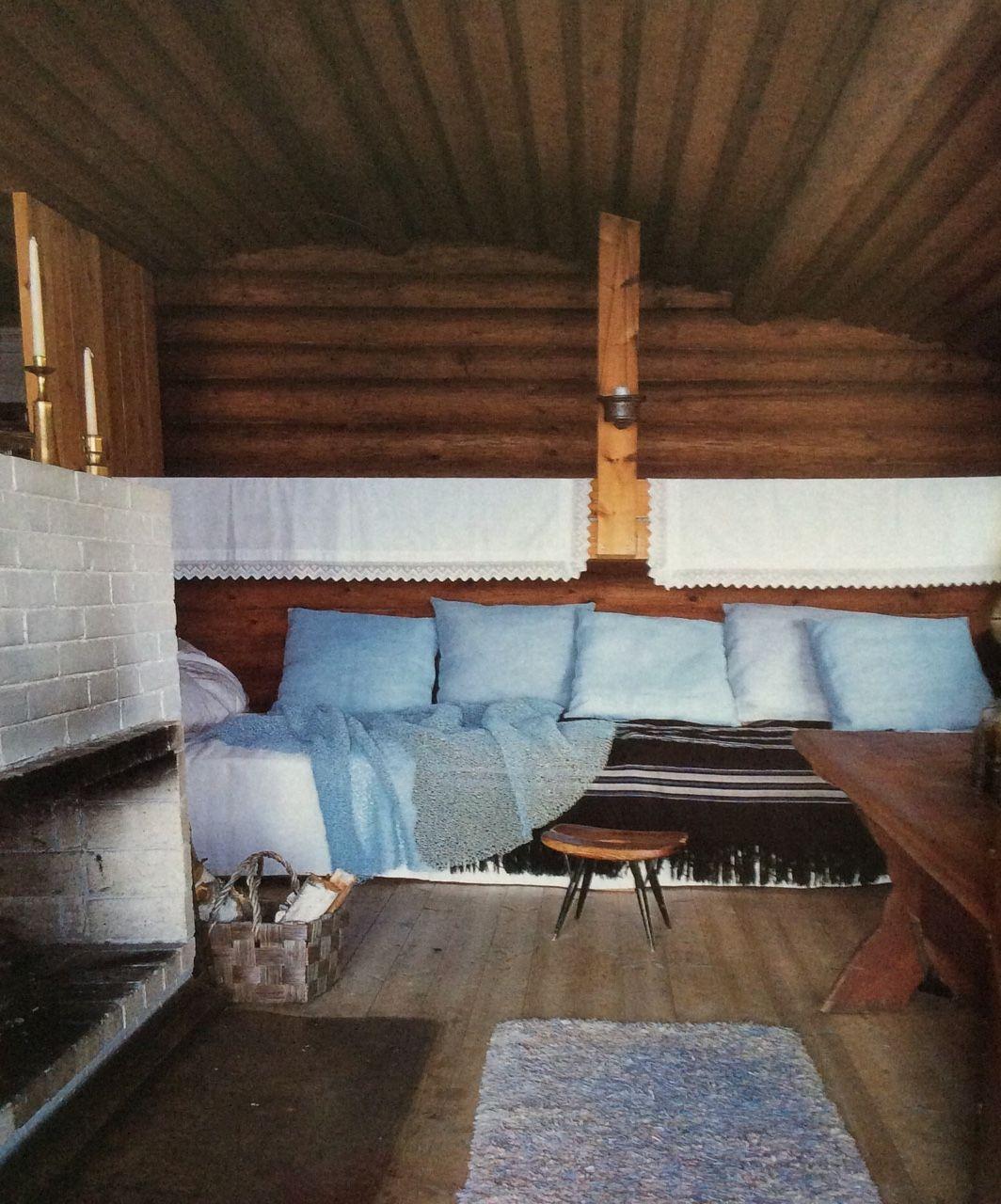 Country house of textile designer Ritva Puotila built in 1965, Finland. Pirkka stool designed by Ilmari Tapiovaara