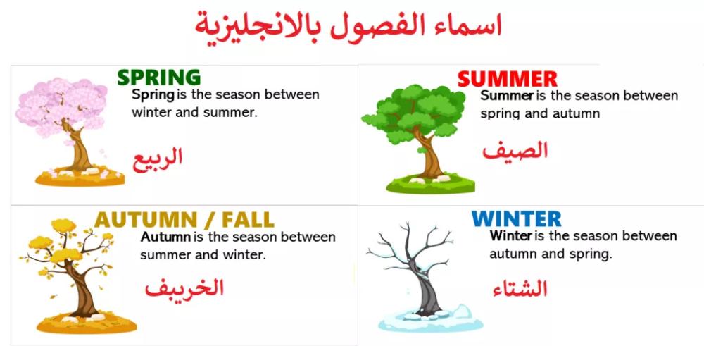 اسماء فصول السنة بالانجليزية مع الترجمة وطريقة النطق الصحيحة تعلم اللغة الانجليزية Learn English English Learning