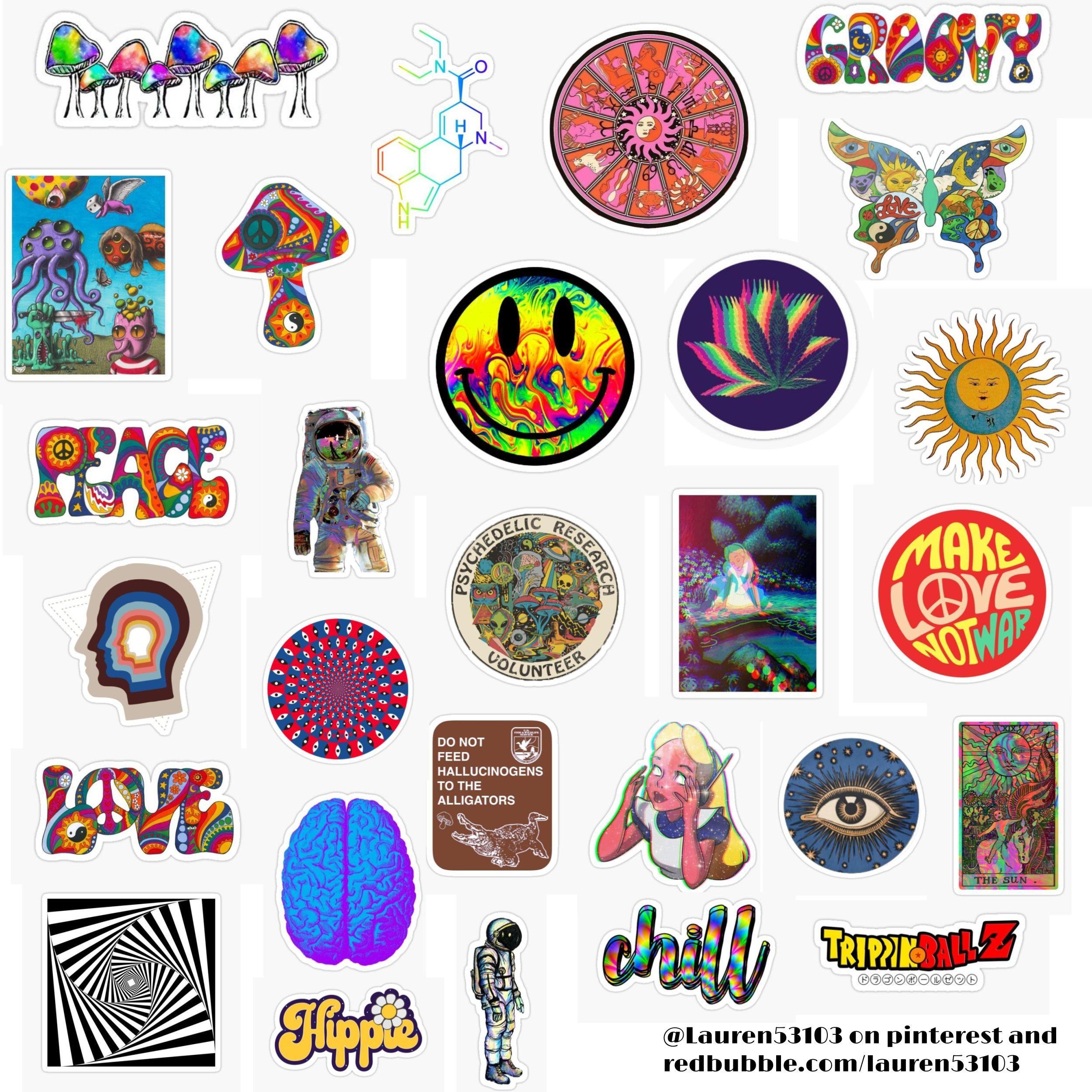 Psychedelic Sticker Pack Sticker By Lauren53103 In 2020 Hippie Sticker Print Stickers Cute Stickers