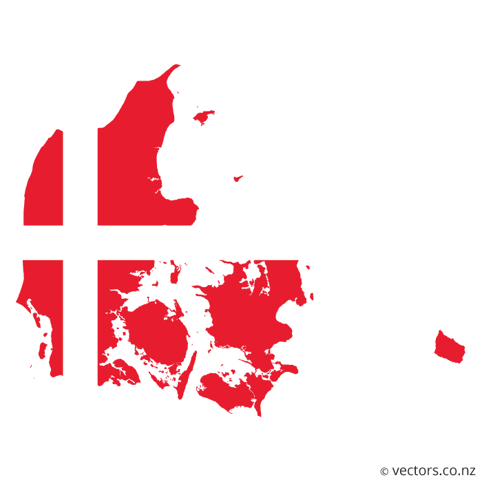 Flag Vector Map Of Denmark Danemark