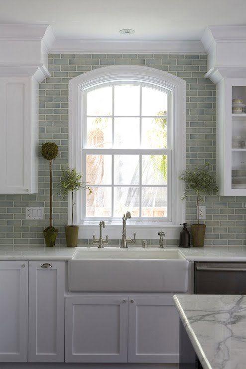 Green Brick Backsplash Tiles Kitchen Sink Design Interior
