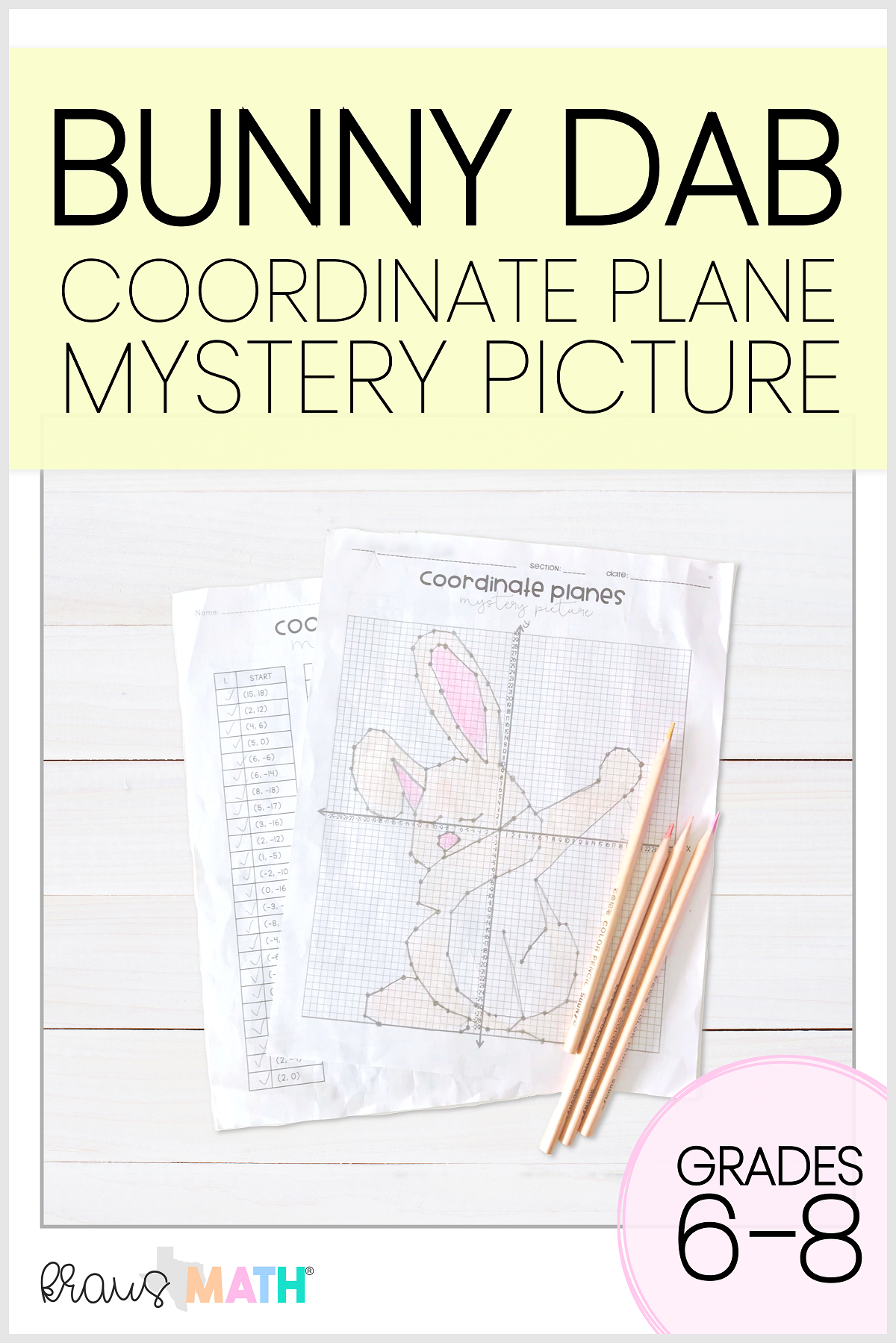 Easter Bunny Dab Coordinate Plane Mystery Picture 4