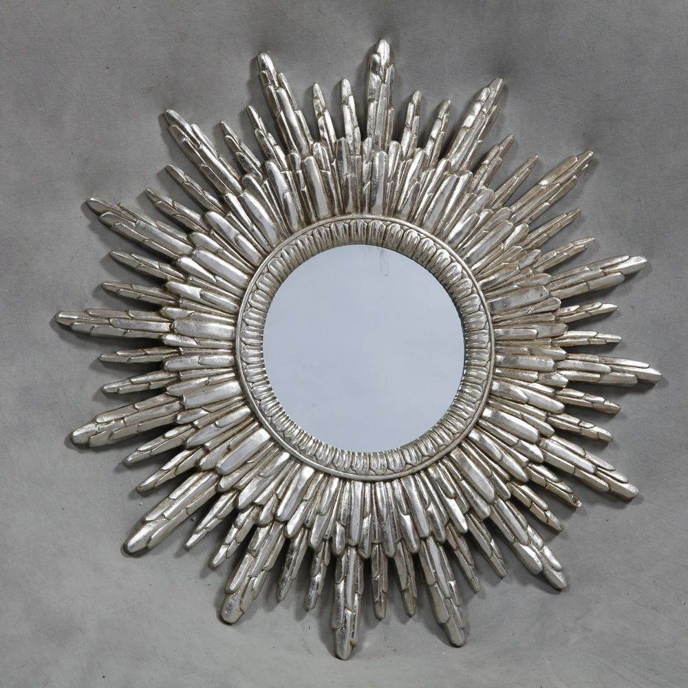Aztec sun contemporary round silver wall mirror for Round silver wall mirror