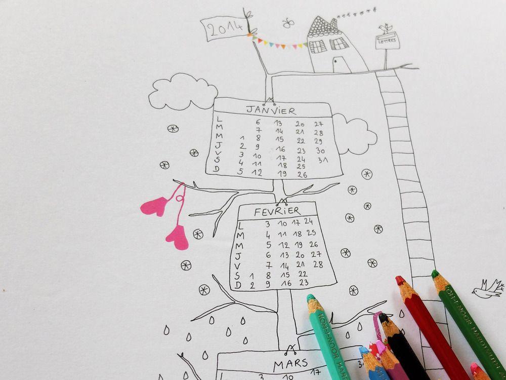 un arbre qui se fait calendrier colorier ou non et qui s 39 habille selon les saisons. Black Bedroom Furniture Sets. Home Design Ideas