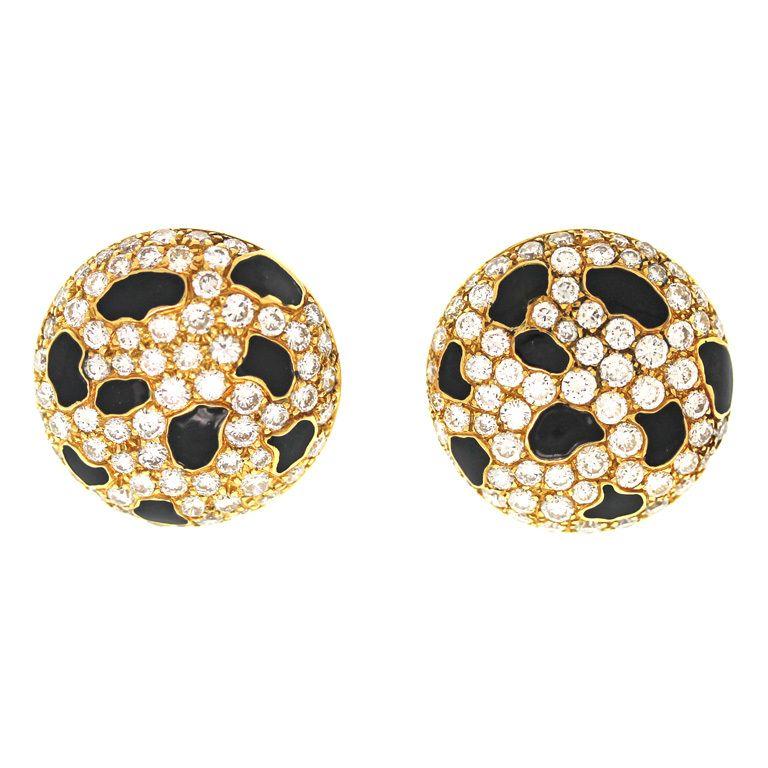 French Diamond Enamel Leopard Earrings