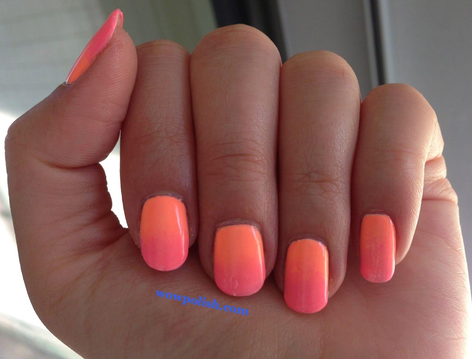 Peach Color Nail Designs Bright Summer Gradient Nail Art Peach