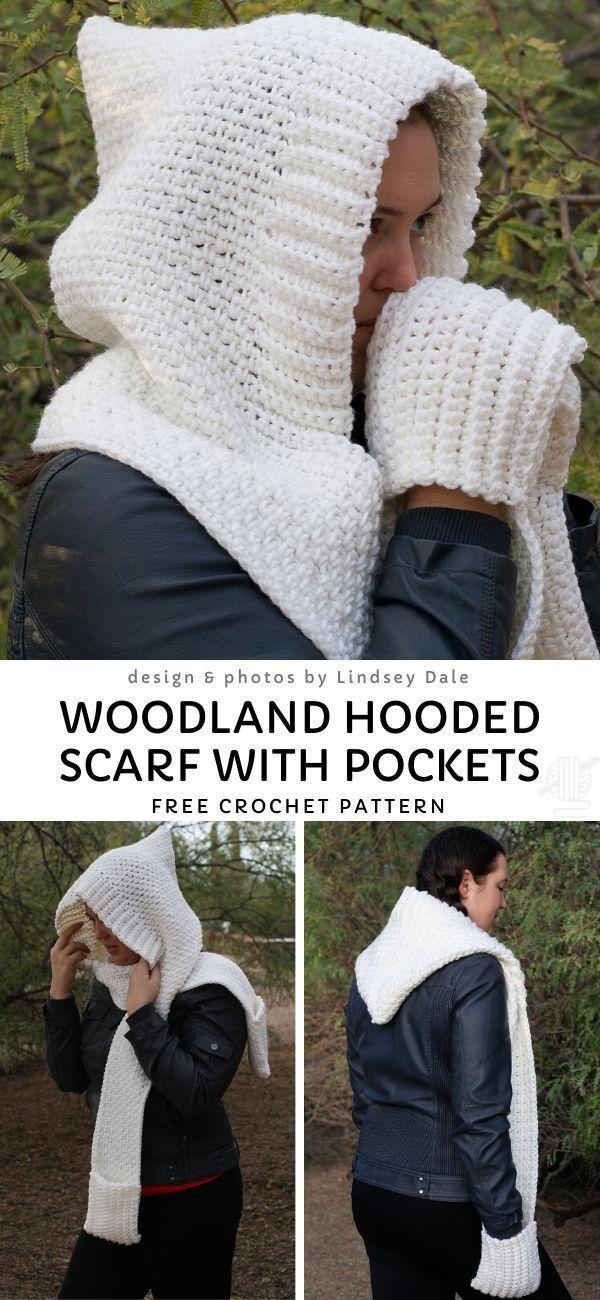 Photo of Woodland Kapuzenschal mit Taschen Free Crochet Pattern- – knithat.decorhous ….
