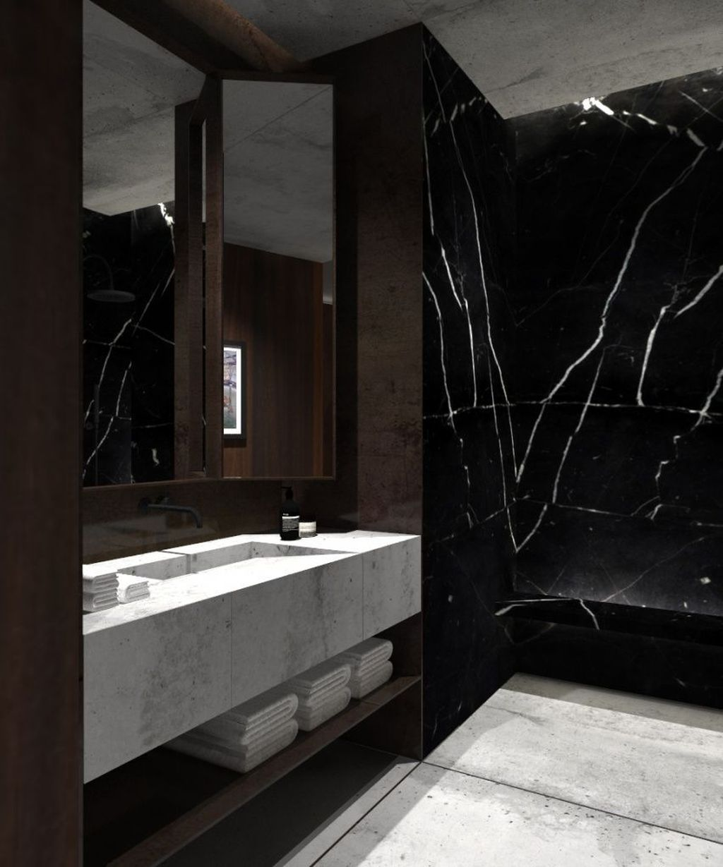 48 Beautiful Black Marble Bathroom Design Ideas To Looks Classy Black Marble Bathroom Marble Bathroom Designs Loft Interiors