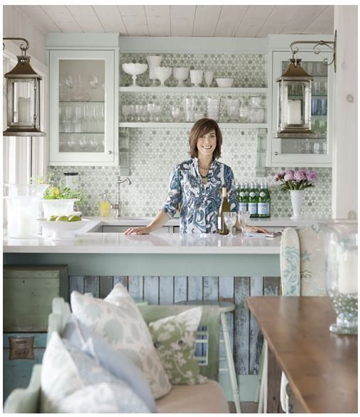 Sarah Richardson's aqua blue and green cottage kitchen with reclaimed #barnwood #lanterns and #mosaictilebacksplash