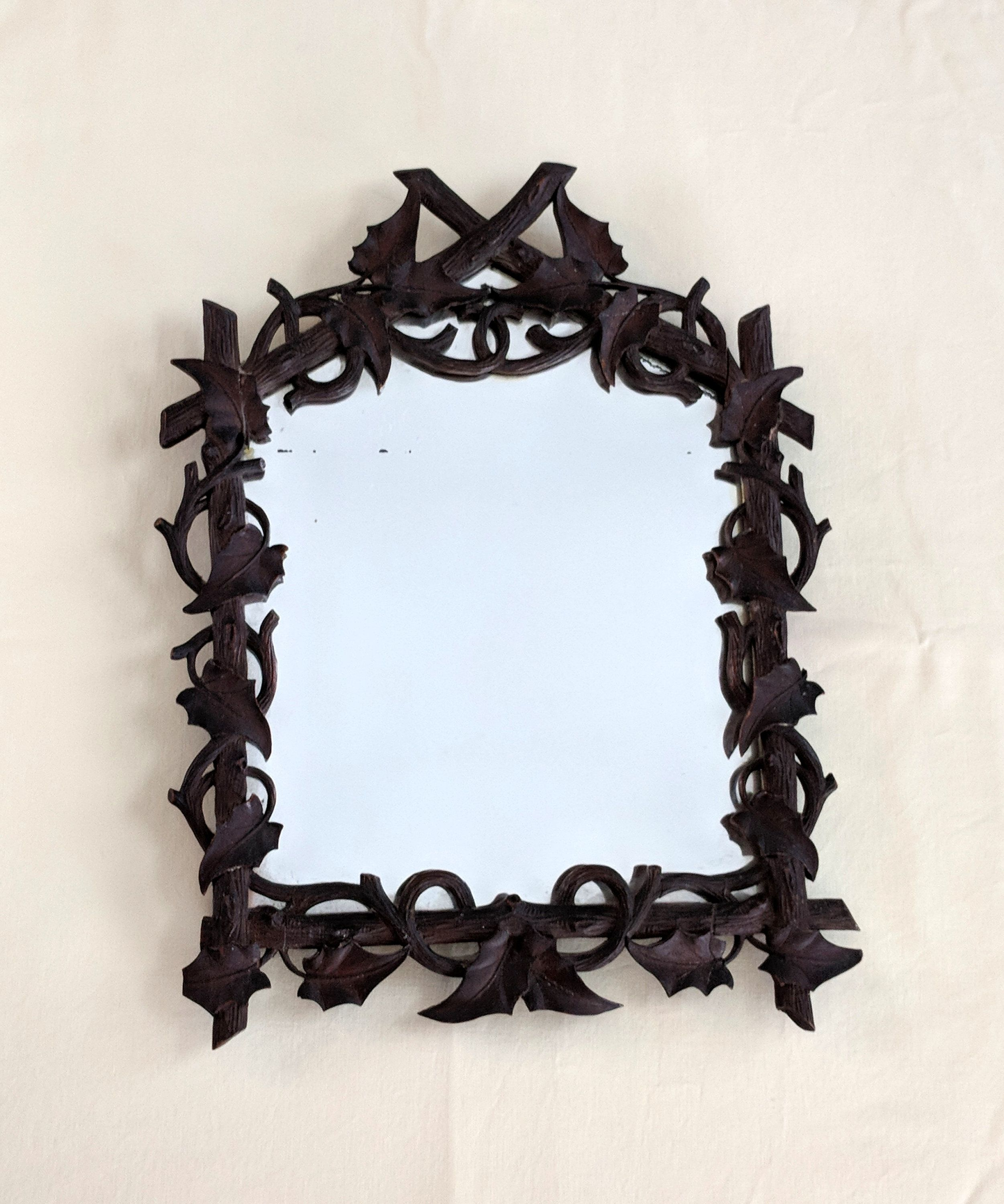 Black forest hand carved wood frame with wall mirror, 14 x ...