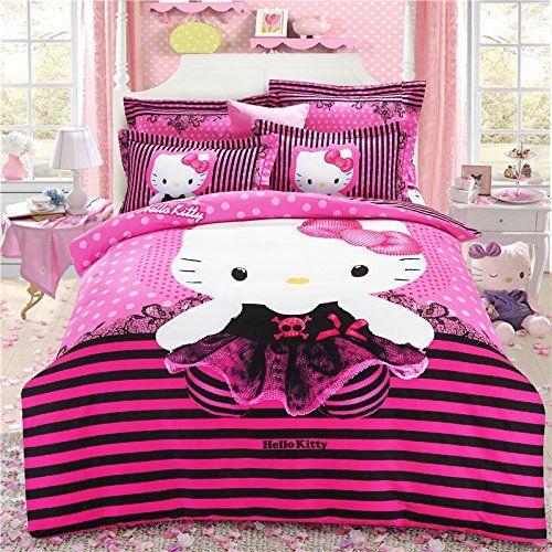 Brandream Pink Hello Kitty Bedding Cute Cartoon Kids Bedding Set
