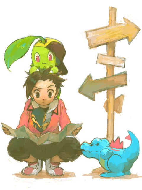 Gelbooru- Image View - 1boy :3 baseball cap biting black eyes black hair chikorita cyndaquil dp gold (pokemon) gold (pokemon) (cosplay) hat map pokemon pokemon (game) pokemon hgss red eyes tegaki totodile | 1807399