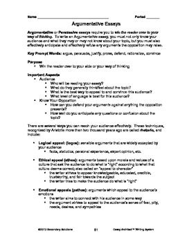 Persuasive Argumentative Essay Unit  Logic Sample Essays Peer  Teaching Argumentativepersuasive Essays
