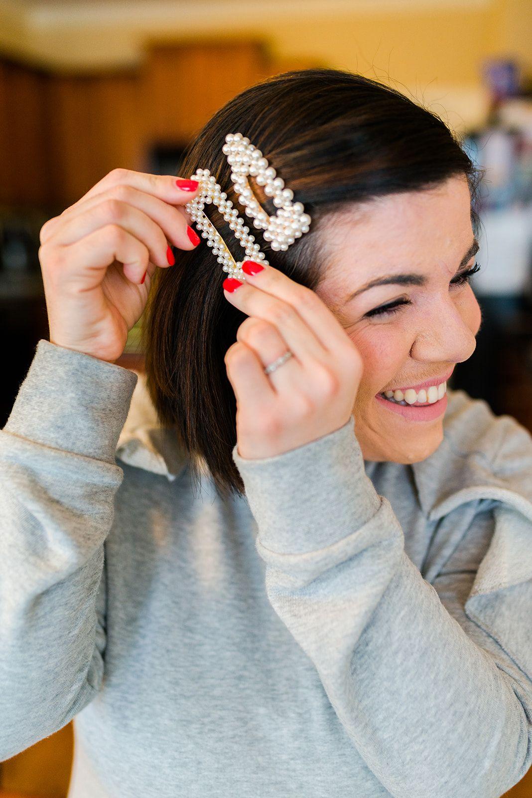4 Ways To Wear A Barrette Head To Toe Chic Hair Accessories Pearl Hair Accessories Short Hair Tutorial