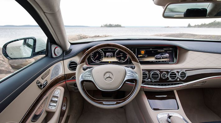 The interior of the new S-Class combines extremely high, craftsman-like quality with innovative appointment details. [Fuel consumption (combined): 10.3-10.1 l/ 100km | CO2 emissions (combined): 242-237 g/km | mb4.me/...]