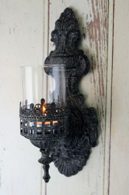 Ornate Candle Wall Sconce with Glass Cover