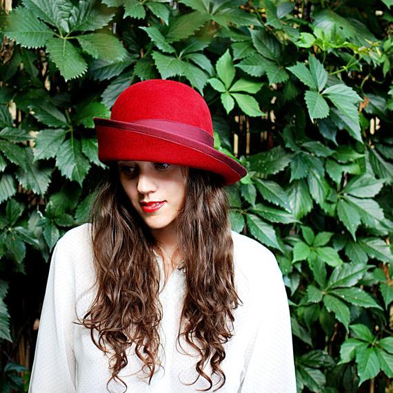 65187e244a0a3 Women red felt hat   Millinery- handmade hand draped red felt cloche hat  wide brim