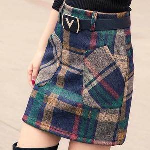 S-3XL New Womens Woolen Blends Skirt Winter 2018 Spring Autumn Fashion Elegant Plaid Thick Slim Short Skirt Girl Female Cotton
