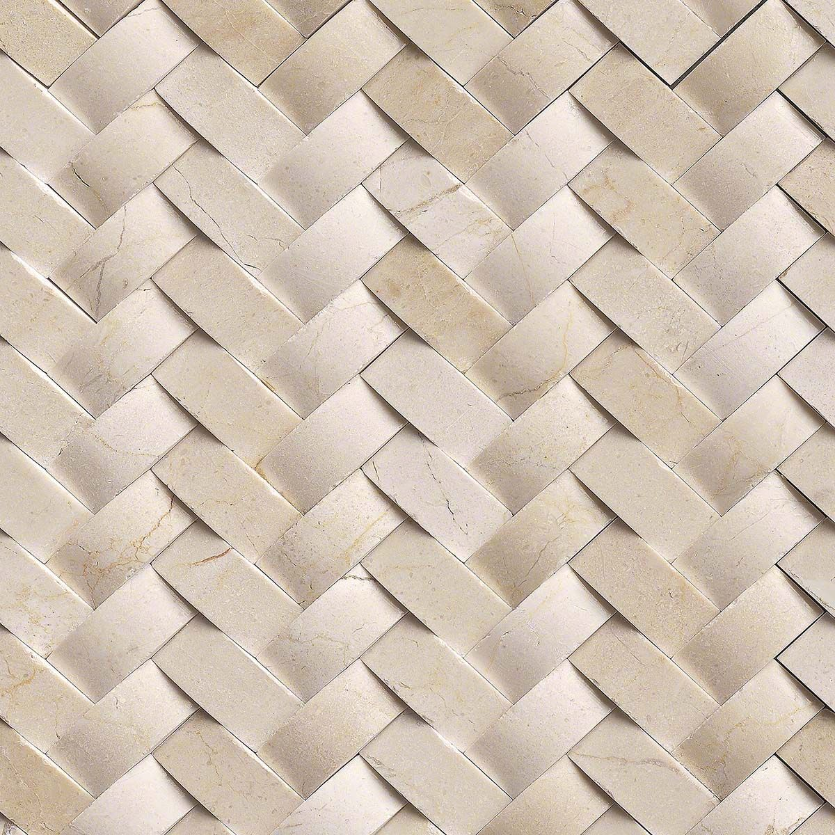 Crema Arched Herringbone 12 In X 10 Mm Polished Marble Mesh Mounted Mosaic Wall Tile Sq Pieces Per Case