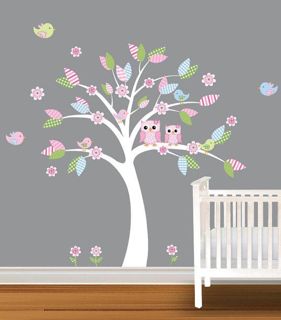 Tree Decal Childrens Nursery Decal Daisy Owl Wall by NurseryDecals