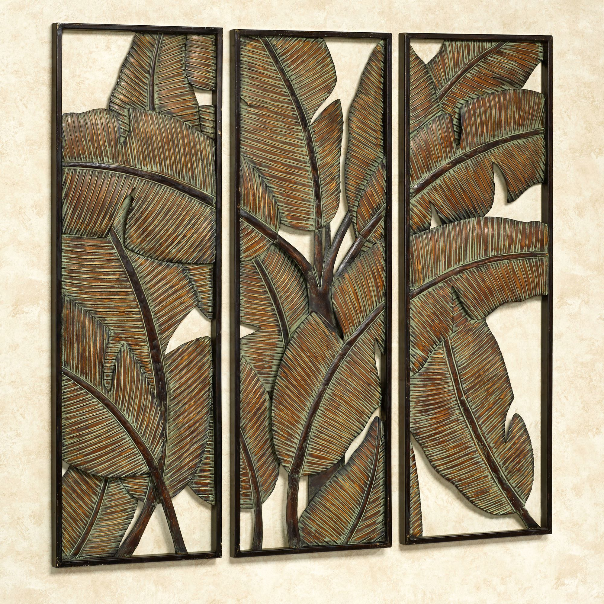 Kaylani Wall Art Panels Green Set Of Three Metal Tree Wall Art Metal Wall Art Panels Metal Tree