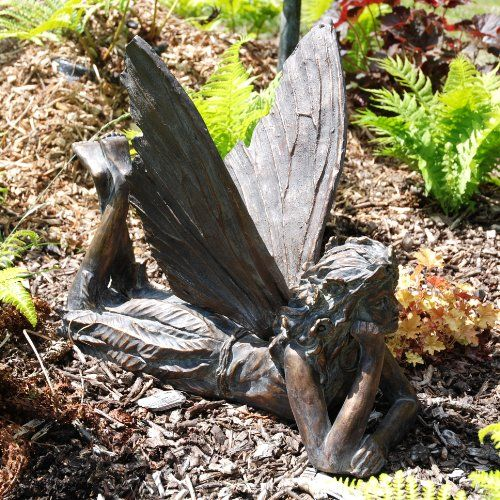 large garden ornaments contemplating fairy antique. Black Bedroom Furniture Sets. Home Design Ideas